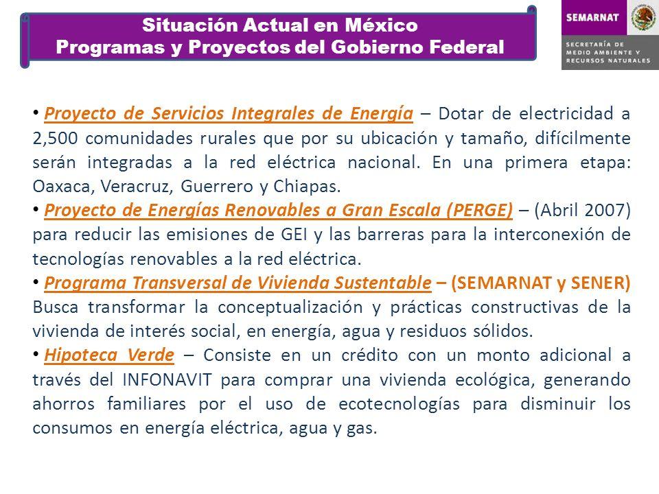 Programa Especial para el Aprovechamiento de Energías Renovables – Publicado en Agosto 2009, promueve el aprovechamiento de energías renovables, estableciendo objetivos y metas, así como las acciones necesarias para alcanzarlas.