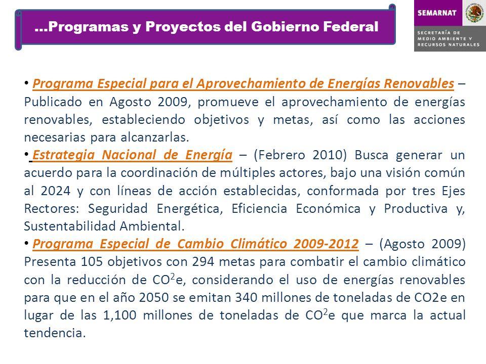 Programa Especial para el Aprovechamiento de Energías Renovables – Publicado en Agosto 2009, promueve el aprovechamiento de energías renovables, estab