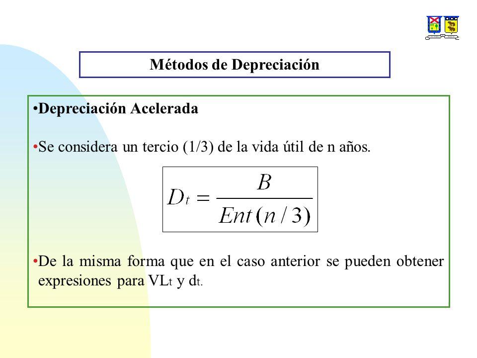 Métodos de Depreciación Depreciación Acelerada Se considera un tercio (1/3) de la vida útil de n años. De la misma forma que en el caso anterior se pu