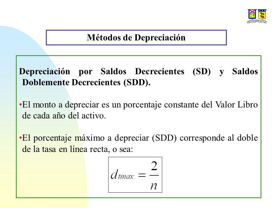 Métodos de Depreciación Depreciación por Saldos Decrecientes (SD) y Saldos Doblemente Decrecientes (SDD). El monto a depreciar es un porcentaje consta