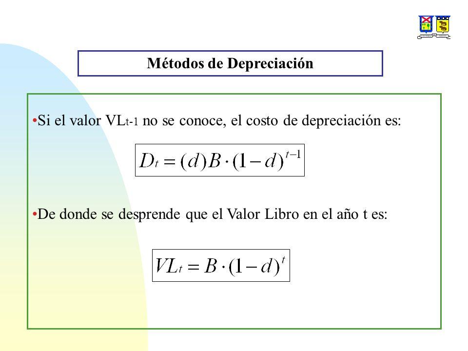 Métodos de Depreciación Si el valor VL t-1 no se conoce, el costo de depreciación es: De donde se desprende que el Valor Libro en el año t es: