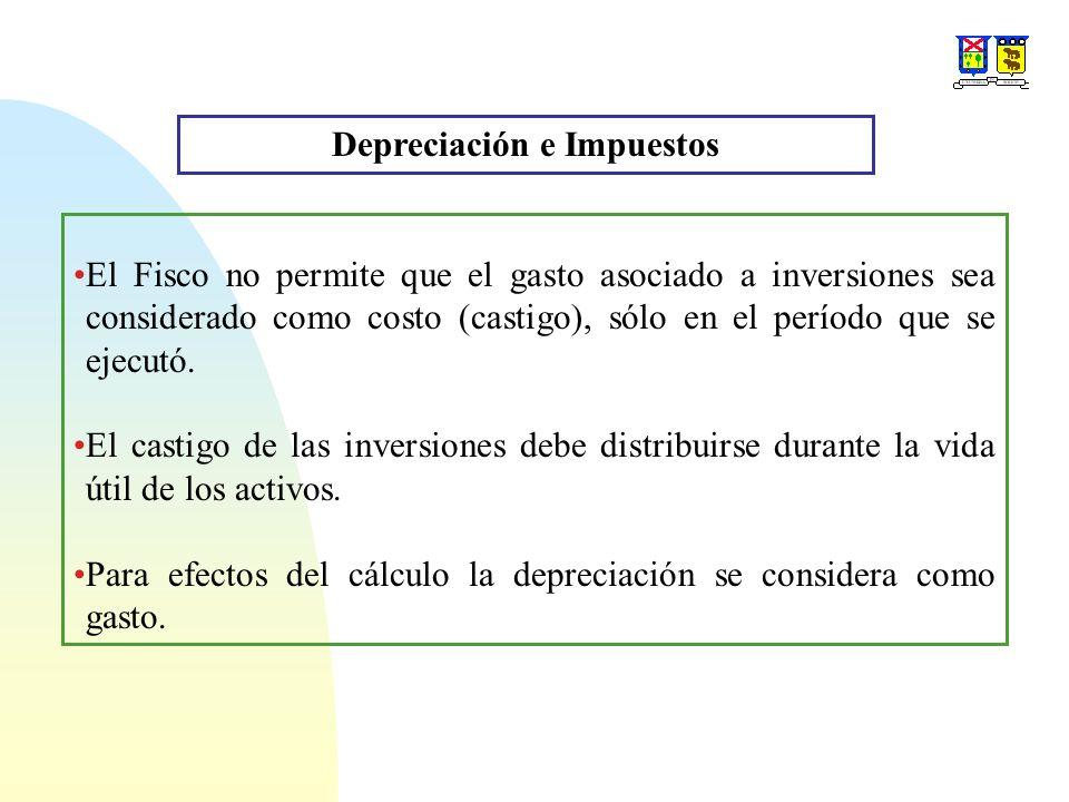 Depreciación e Impuestos El Fisco no permite que el gasto asociado a inversiones sea considerado como costo (castigo), sólo en el período que se ejecu