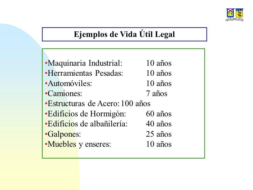 Ejemplos de Vida Útil Legal Maquinaria Industrial:10 años Herramientas Pesadas:10 años Automóviles:10 años Camiones:7 años Estructuras de Acero:100 añ