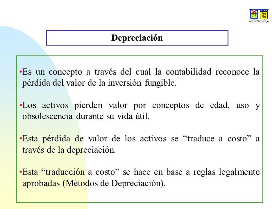 Depreciación Es un concepto a través del cual la contabilidad reconoce la pérdida del valor de la inversión fungible. Los activos pierden valor por co