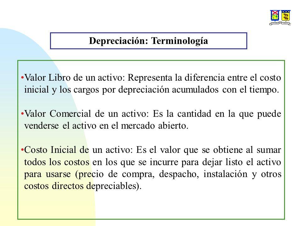 Depreciación: Terminología Valor Libro de un activo: Representa la diferencia entre el costo inicial y los cargos por depreciación acumulados con el t