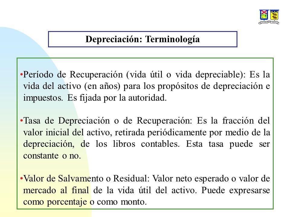 Depreciación: Terminología Período de Recuperación (vida útil o vida depreciable): Es la vida del activo (en años) para los propósitos de depreciación