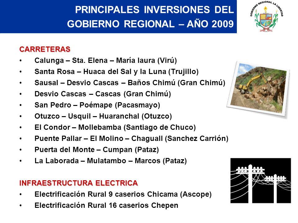 CARRETERAS Calunga – Sta. Elena – María laura (Virú) Santa Rosa – Huaca del Sal y la Luna (Trujillo) Sausal – Desvio Cascas – Baños Chimú (Gran Chimú)