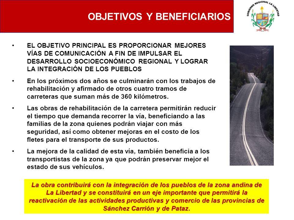 OBJETIVOS Y BENEFICIARIOS EL OBJETIVO PRINCIPAL ES PROPORCIONAR MEJORES VÍAS DE COMUNICACIÓN A FIN DE IMPULSAR EL DESARROLLO SOCIOECONÓMICO REGIONAL Y
