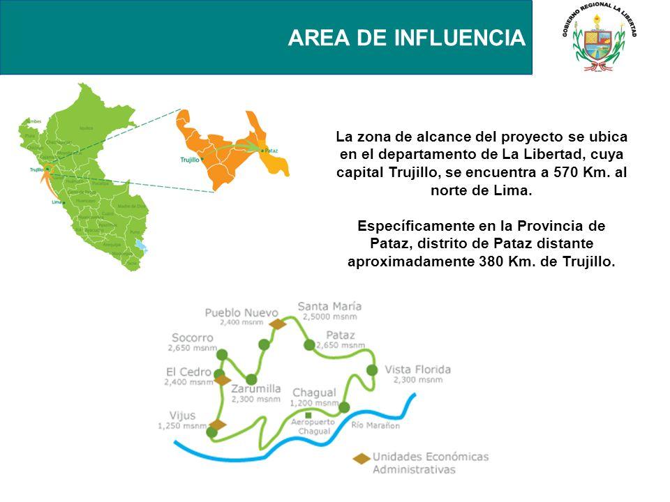 AREA DE INFLUENCIA La zona de alcance del proyecto se ubica en el departamento de La Libertad, cuya capital Trujillo, se encuentra a 570 Km. al norte