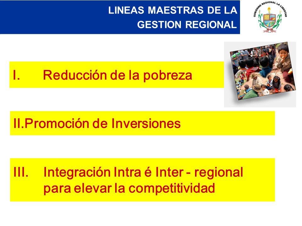 I.Reducción de la pobreza II.Promoción de Inversiones III.Integración Intra é Inter - regional para elevar la competitividad LINEAS MAESTRAS DE LA GES