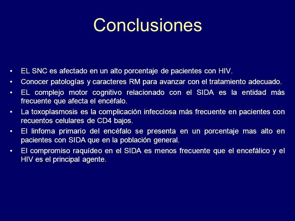 Conclusiones EL SNC es afectado en un alto porcentaje de pacientes con HIV. Conocer patologías y caracteres RM para avanzar con el tratamiento adecuad
