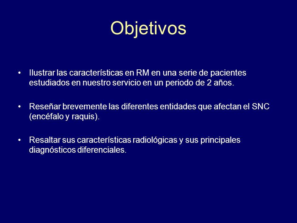 Objetivos Ilustrar las características en RM en una serie de pacientes estudiados en nuestro servicio en un periodo de 2 años. Reseñar brevemente las