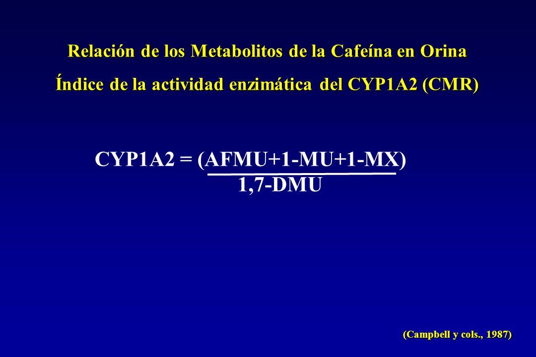 Relación de los Metabolitos de la Cafeína en Orina Índice de la actividad enzimática del CYP1A2 (CMR) CYP1A2 = (AFMU+1-MU+1-MX) 1,7-DMU (Campbell y cols., 1987)