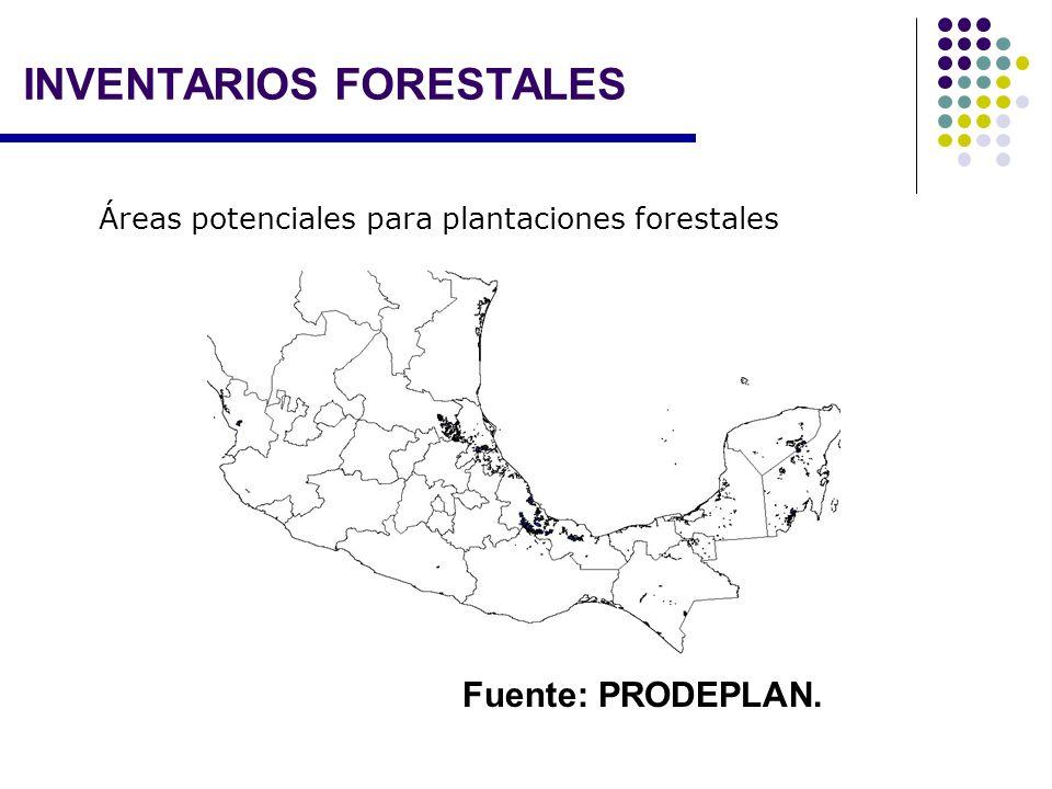 Áreas potenciales para plantaciones forestales Fuente: PRODEPLAN. INVENTARIOS FORESTALES