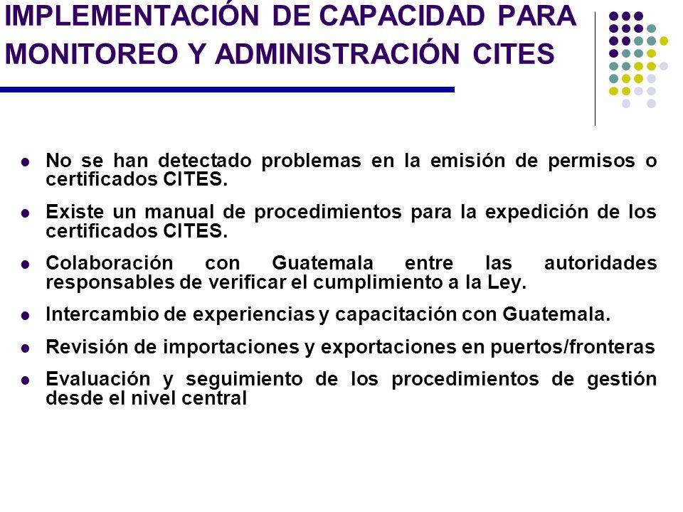 IMPLEMENTACIÓN DE CAPACIDAD PARA MONITOREO Y ADMINISTRACIÓN CITES No se han detectado problemas en la emisión de permisos o certificados CITES. Existe