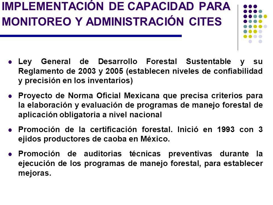 IMPLEMENTACIÓN DE CAPACIDAD PARA MONITOREO Y ADMINISTRACIÓN CITES Ley General de Desarrollo Forestal Sustentable y su Reglamento de 2003 y 2005 (estab