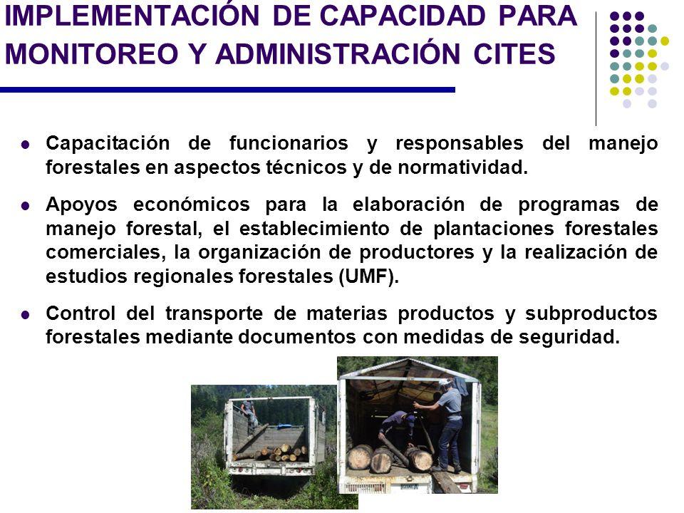IMPLEMENTACIÓN DE CAPACIDAD PARA MONITOREO Y ADMINISTRACIÓN CITES Capacitación de funcionarios y responsables del manejo forestales en aspectos técnic