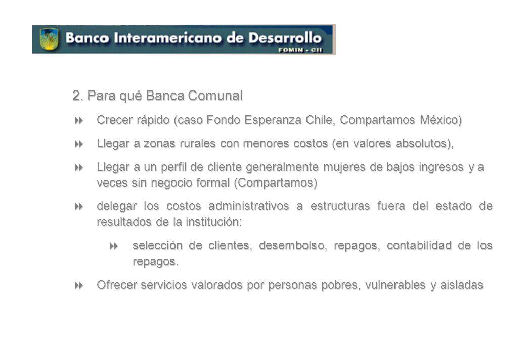 1. Qué es Banca Comunal Crédito: en forma de un préstamo a un grupo de 15 a 30 personas, la mayor parte mujeres (97% en la región) Crédito: en forma d