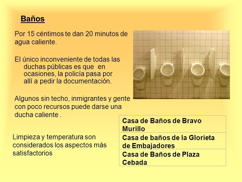 Baños Por 15 céntimos te dan 20 minutos de agua caliente. El único inconveniente de todas las duchas públicas es que en ocasiones, la policía pasa por