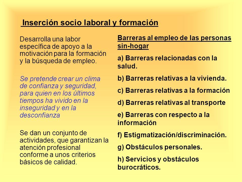 Inserción socio laboral y formación Desarrolla una labor específica de apoyo a la motivación para la formación y la búsqueda de empleo. Se pretende cr