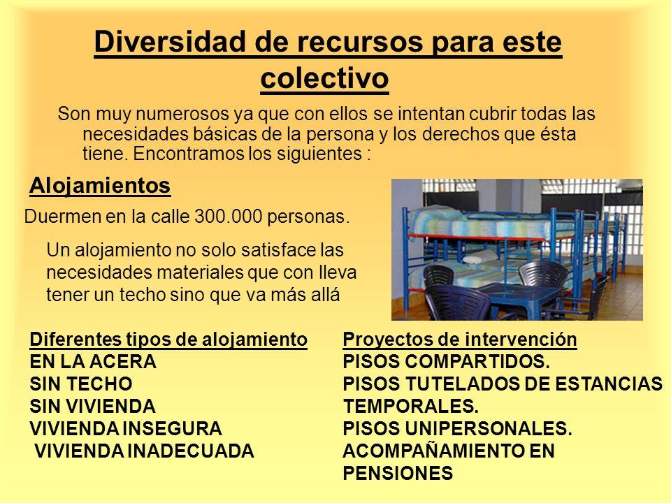 Diversidad de recursos para este colectivo Son muy numerosos ya que con ellos se intentan cubrir todas las necesidades básicas de la persona y los der