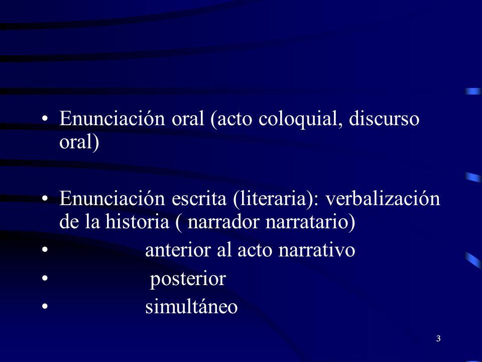 3 Enunciación oral (acto coloquial, discurso oral) Enunciación escrita (literaria): verbalización de la historia ( narrador narratario) anterior al acto narrativo posterior simultáneo