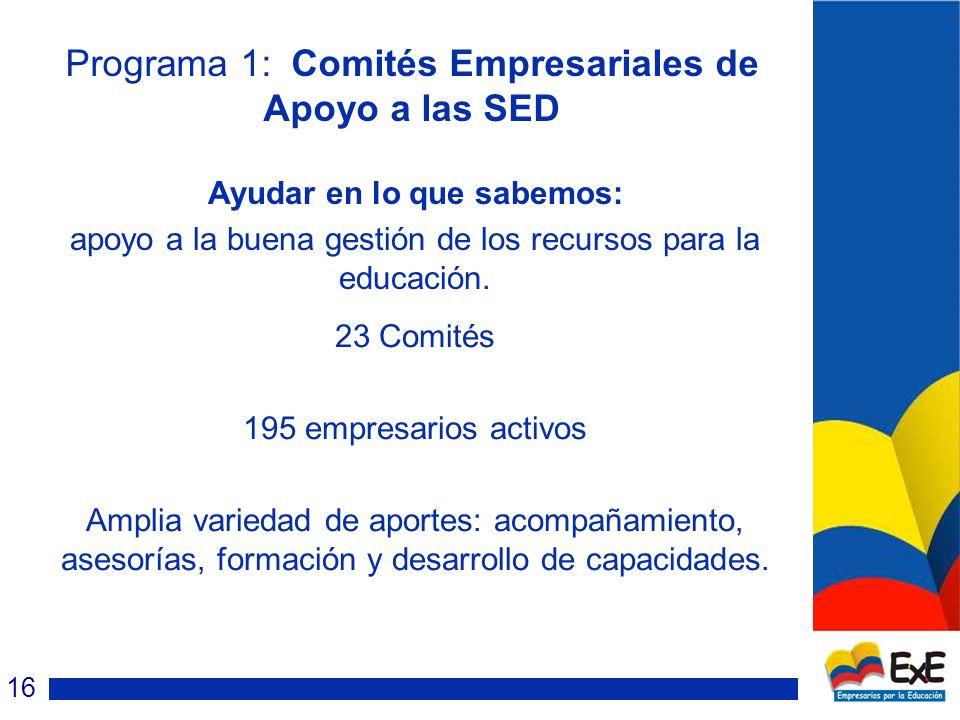 Programa 1: Comités Empresariales de Apoyo a las SED Ayudar en lo que sabemos: apoyo a la buena gestión de los recursos para la educación.