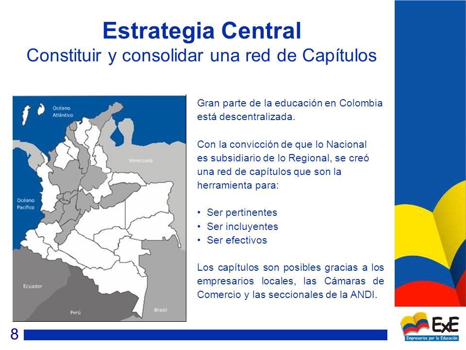Estrategia Central Constituir y consolidar una red de Capítulos Gran parte de la educación en Colombia está descentralizada.