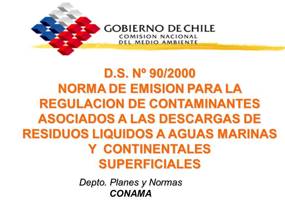 D.S. Nº 90/2000 NORMA DE EMISION PARA LA REGULACION DE CONTAMINANTES ASOCIADOS A LAS DESCARGAS DE RESIDUOS LIQUIDOS A AGUAS MARINAS Y CONTINENTALES SU