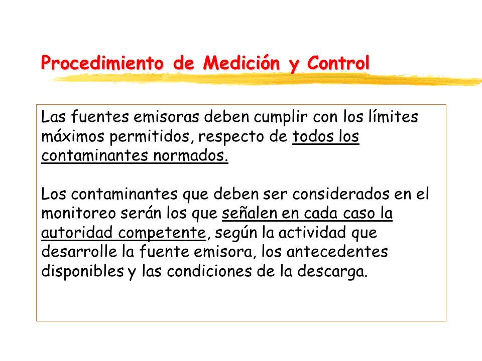 Procedimiento de Medición y Control Las fuentes emisoras deben cumplir con los límites máximos permitidos, respecto de todos los contaminantes normado