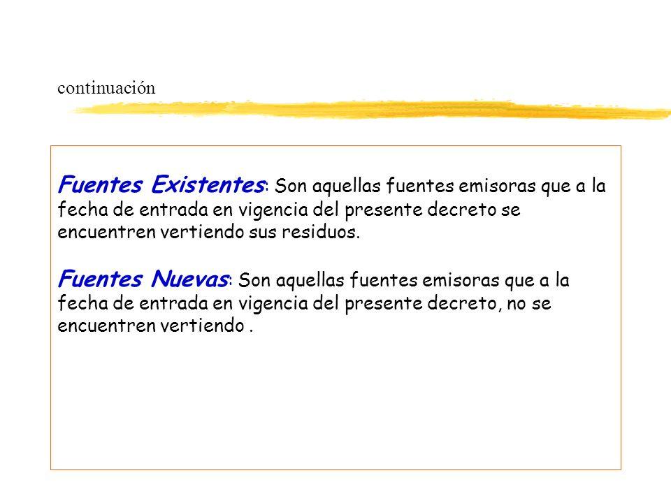 continuación Fuentes Existentes : Son aquellas fuentes emisoras que a la fecha de entrada en vigencia del presente decreto se encuentren vertiendo sus
