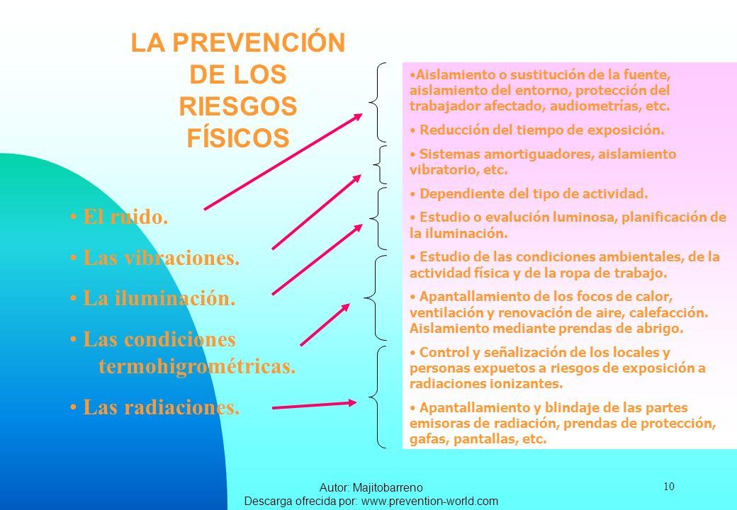 Autor: Majitobarreno Descarga ofrecida por: www.prevention-world.com 10 LA PREVENCIÓN DE LOS RIESGOS FÍSICOS El ruido. Las vibraciones. La iluminación