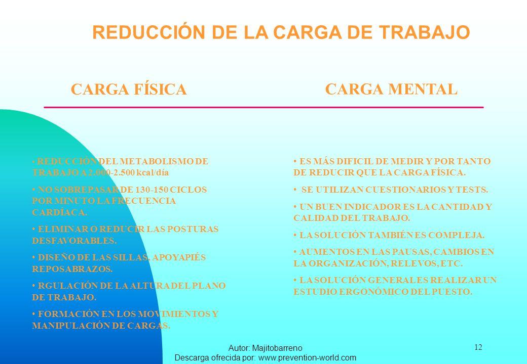 Autor: Majitobarreno Descarga ofrecida por: www.prevention-world.com 12 REDUCCIÓN DE LA CARGA DE TRABAJO CARGA FÍSICA CARGA MENTAL REDUCCIÓN DEL METAB