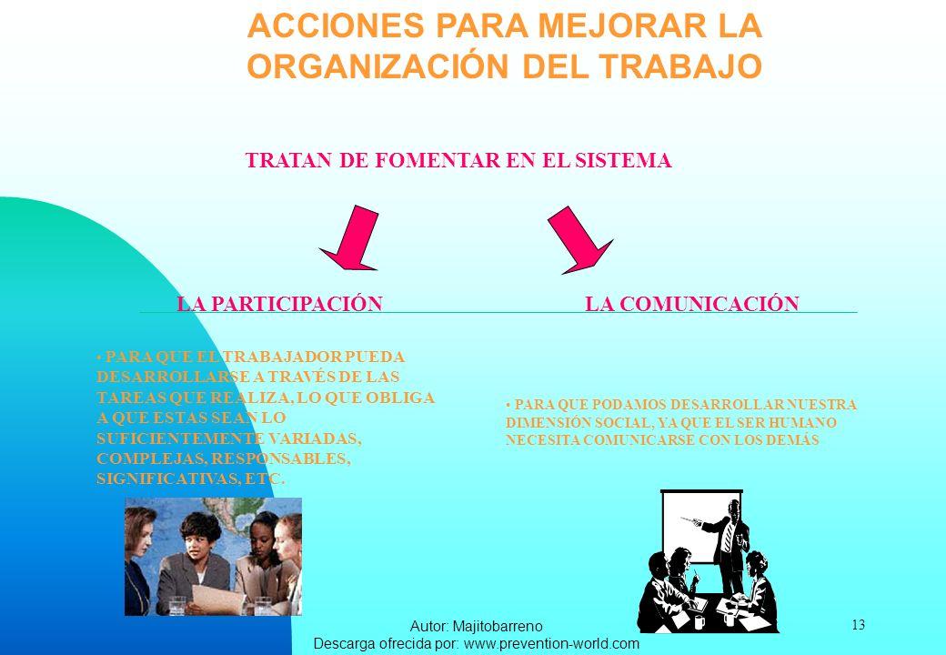 Autor: Majitobarreno Descarga ofrecida por: www.prevention-world.com 13 ACCIONES PARA MEJORAR LA ORGANIZACIÓN DEL TRABAJO TRATAN DE FOMENTAR EN EL SIS