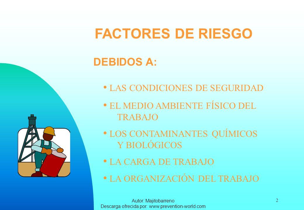 Autor: Majitobarreno Descarga ofrecida por: www.prevention-world.com 2 FACTORES DE RIESGO LAS CONDICIONES DE SEGURIDAD EL MEDIO AMBIENTE FÍSICO DEL TR