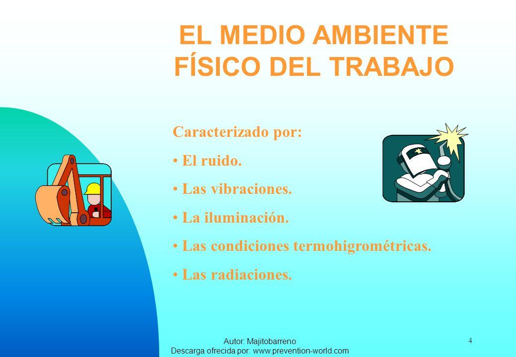 Autor: Majitobarreno Descarga ofrecida por: www.prevention-world.com 4 EL MEDIO AMBIENTE FÍSICO DEL TRABAJO Caracterizado por: El ruido. Las vibracion