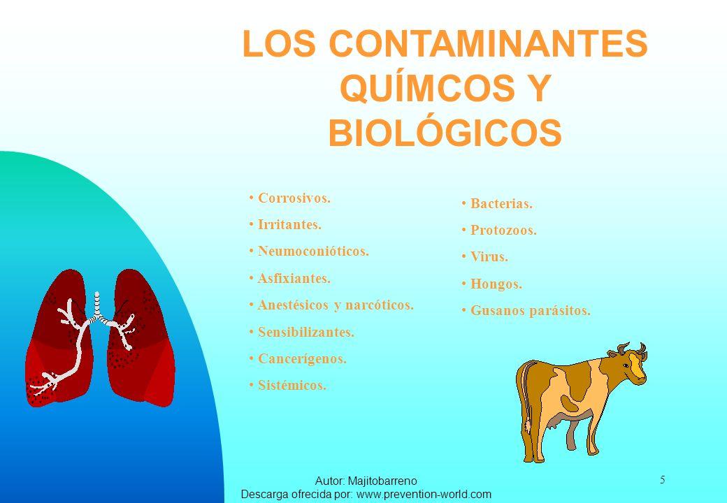 Autor: Majitobarreno Descarga ofrecida por: www.prevention-world.com 5 LOS CONTAMINANTES QUÍMCOS Y BIOLÓGICOS Corrosivos. Irritantes. Neumoconióticos.