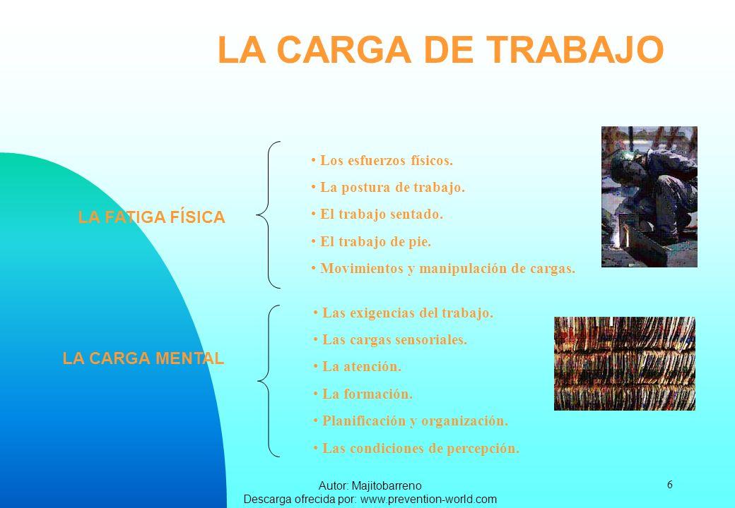 Autor: Majitobarreno Descarga ofrecida por: www.prevention-world.com 6 LA CARGA DE TRABAJO LA FATIGA FÍSICA Los esfuerzos físicos. La postura de traba