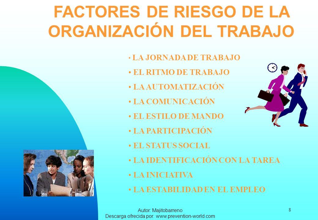 Autor: Majitobarreno Descarga ofrecida por: www.prevention-world.com 8 FACTORES DE RIESGO DE LA ORGANIZACIÓN DEL TRABAJO LA JORNADA DE TRABAJO EL RITM