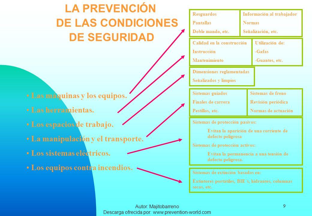 Autor: Majitobarreno Descarga ofrecida por: www.prevention-world.com 9 LA PREVENCIÓN DE LASCONDICIONES DE SEGURIDAD Las máquinas y los equipos. Las he