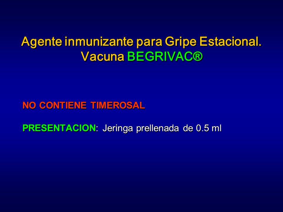 Agente inmunizante para Gripe Estacional. Vacuna BEGRIVAC® NO CONTIENE TIMEROSAL PRESENTACION: Jeringa prellenada de 0.5 ml NO CONTIENE TIMEROSAL PRES