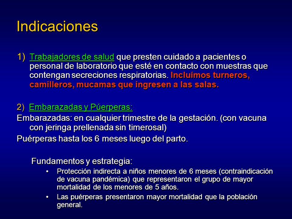 Indicaciones Trabajadores de salud que presten cuidado a pacientes o personal de laboratorio que esté en contacto con muestras que contengan secrecion