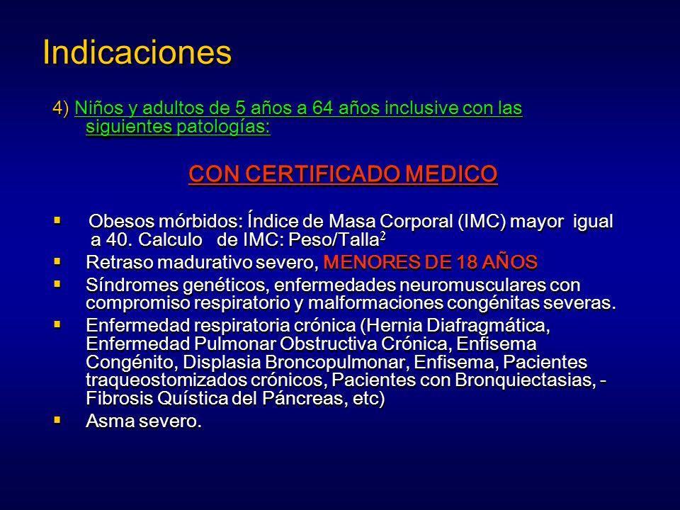 siguientes 4) Niños y adultos de 5 años a 64 años inclusive con las siguientes patologías: CON CERTIFICADO MEDICO Obesos mórbidos: Índice de Masa Corp