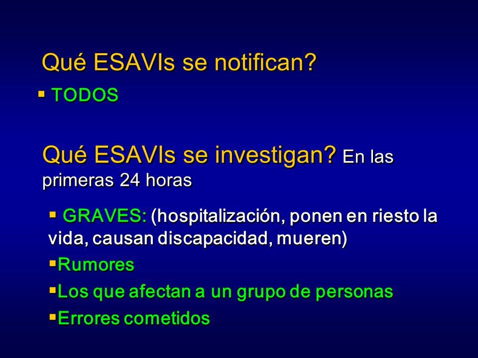 Qué ESAVIs se notifican? TODOS Qué ESAVIs se investigan? En las primeras 24 horas GRAVES: (hospitalización, ponen en riesto la vida, causan discapacid