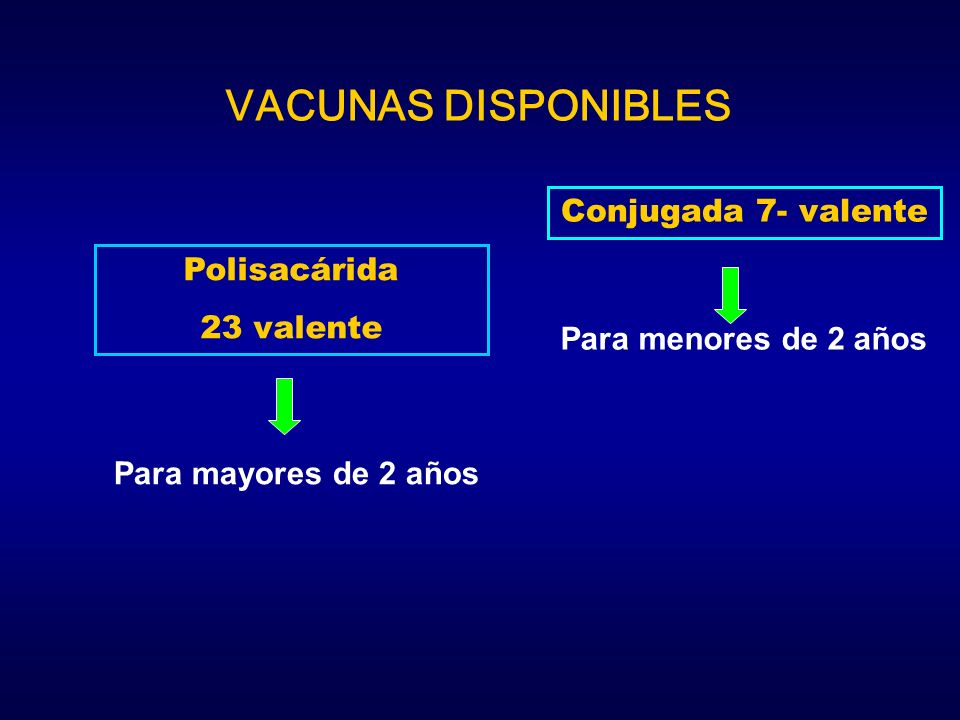 Polisacárida 23 valente Para mayores de 2 años Conjugada 7- valente Para menores de 2 años VACUNAS DISPONIBLES