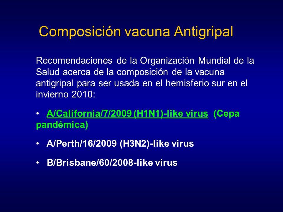 Recomendaciones de la Organización Mundial de la Salud acerca de la composición de la vacuna antigripal para ser usada en el hemisferio sur en el invi