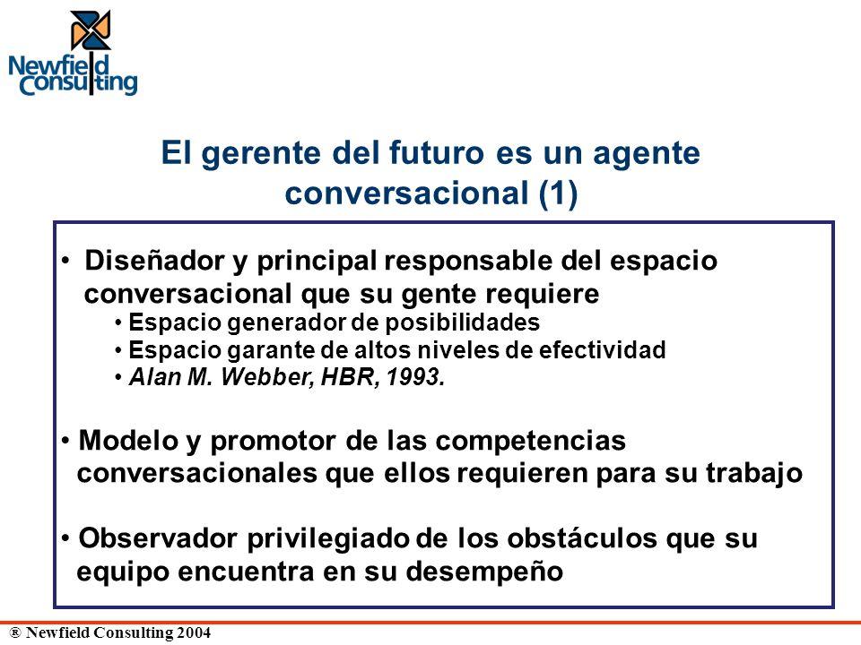 ® Newfield Consulting 2004 El gerente del futuro es un agente conversacional (1) Diseñador y principal responsable del espacio conversacional que su g