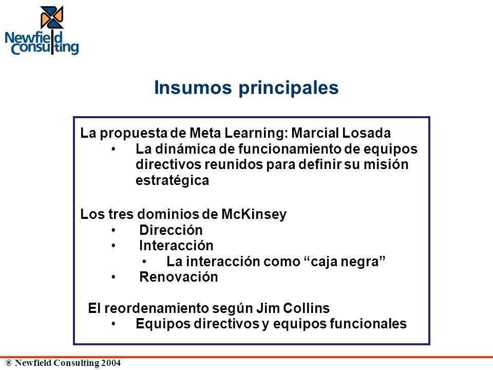 ® Newfield Consulting 2004 Insumos principales La propuesta de Meta Learning: Marcial Losada La dinámica de funcionamiento de equipos directivos reuni