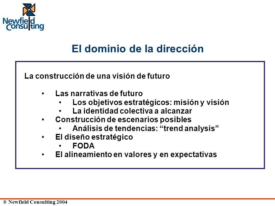 ® Newfield Consulting 2004 El dominio de la dirección La construcción de una visión de futuro Las narrativas de futuro Los objetivos estratégicos: mis