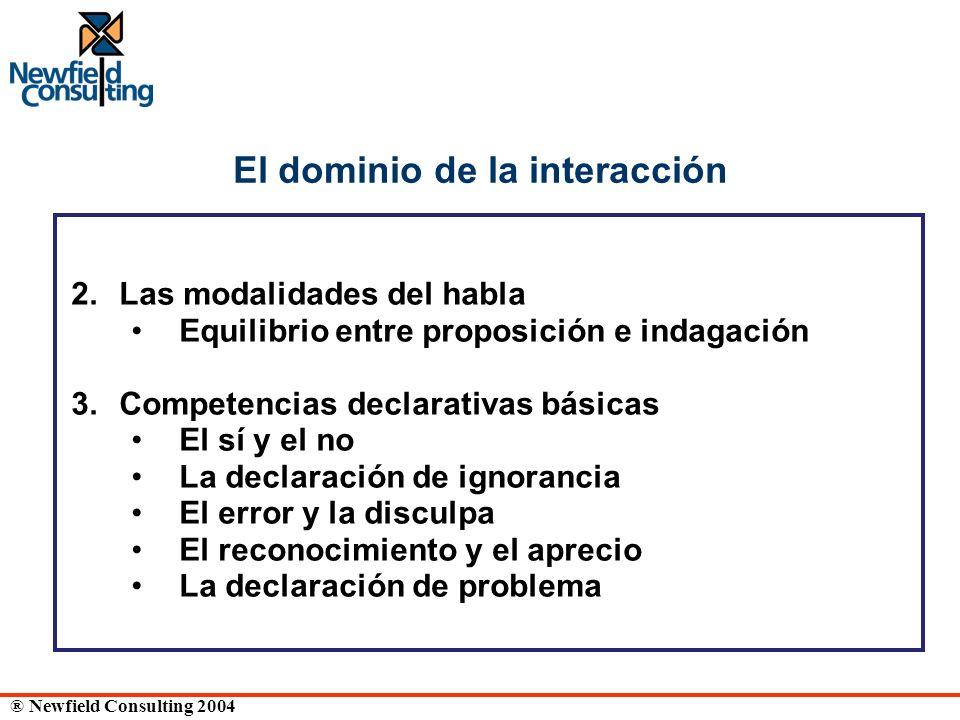 ® Newfield Consulting 2004 El dominio de la interacción 2. Las modalidades del habla Equilibrio entre proposición e indagación 3. Competencias declara